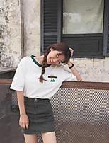 Tee-shirt Femme,Couleur Pleine Sortie Décontracté / Quotidien simple Mignon Eté Manches Courtes Col Arrondi Coton Moyen