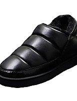 Men's Shoes PU Fall Winter Fluff Lining Loafers & Slip-Ons For Casual Black