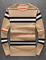 Men's Going out Casual/Daily Simple Short Pullover,Solid Striped Round Neck Long Sleeves Wool Others Spring Fall Medium Micro-elastic