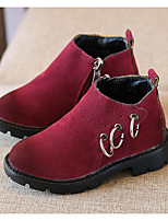 Girls' Shoes Nubuck leather Fall Winter Comfort Combat Boots Boots For Casual Burgundy Army Green Brown
