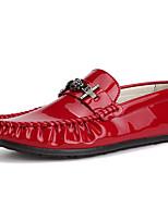 Hombre Zapatos PU Primavera Otoño Confort Zapatos de taco bajo y Slip-On Para Casual Blanco Negro Rojo