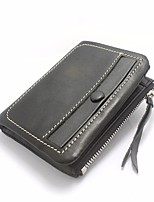 Men Bags All Seasons Cowhide Wallet Zipper for Event/Party Formal Black