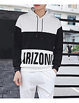 Men's Casual/Daily Hoodie Color Block Letter Hooded Micro-elastic Cotton Polyester Long Sleeve Fall