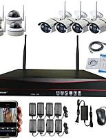 strongshine® 8ch wifi nvr avec 1.3megapixel caméra ip sans fil (4pcs appareil photo bulit résistant aux intempéries&4pcs caméra dôme)