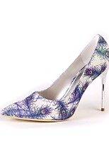 Women's Shoes Silk Spring Fall Basic Pump Wedding Shoes Stiletto Heel Pointed Toe Feather For Wedding Party & Evening Light Blue Gold