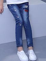 Jeans Fille Couleur Pleine Imprimé Polyester Automne