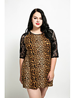 Cute Ann Women's Plus Size Casual/Daily Cute Street chic Shift Dress,Leopard Round Neck Mini Above Knee Half Sleeves Cotton Polyester Spandex All