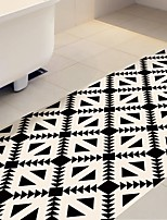 DIY 3D Beige & Black Geometry Antiskid Floor Stickers Home Decor Pattern Floor Anti-slip Ground Decal for Washroom Kids Room 60*120cm