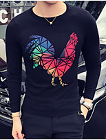 Men's Casual/Daily Regular Pullover,Solid Print Round Neck Long Sleeves Cotton Fall Medium Micro-elastic
