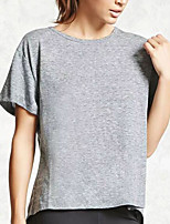 Women's Daily Going out Casual Sexy Summer T-shirt,Solid Round Neck Short Sleeves Cotton Spandex Medium