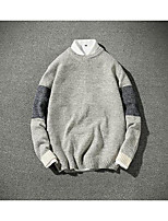 Men's Casual/Daily Simple Regular Pullover,Color Block Round Neck Long Sleeves Polyester Fall Medium Micro-elastic