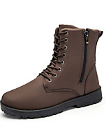 cheap -Men's Shoes PU Winter Fall Fur Lining Comfort Combat Boots Boots for Casual Outdoor Brown Black