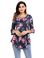 Women's Holiday Going out Coily Fall T-shirt,Floral Round Neck 3/4 Length Sleeves Polyester Spandex Medium