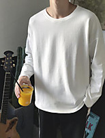 Men's Daily Sweatshirt Solid Round Neck Micro-elastic Polyester Long Sleeve Fall