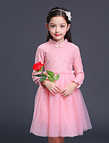 Girl's Solid Dress,Cotton Rayon Polyester Fall Winter Long Sleeve