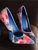 Women's Shoes Leather Spring Fall Comfort Heels Stiletto Heel Pointed Toe For Casual Blue Pink