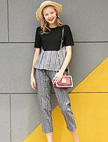 Women's Going out Street chic Summer T-shirt Pant Suits,Solid Striped Round Neck Short Sleeve Backless Cotton Inelastic