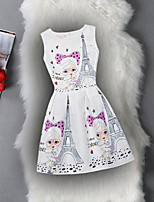 Girl's Birthday Casual/Daily Holiday Going out Solid Floral Print Dress,Cotton Polyester Spring Summer Sleeveless