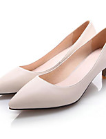 Women's Shoes Cowhide Spring Fall Basic Pump Heels For Casual Beige Black