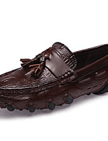 Men's Shoes Nappa Leather Fall Winter Moccasin Loafers & Slip-Ons For Casual Party & Evening Red Coffee Black
