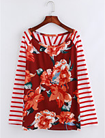 Women's Daily Chinoiserie Fall Blouse,Striped Floral Round Neck Long Sleeves Polyester Thin