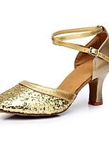 Women's Modern Paillette Customized Materials Heel Indoor Customized Heel Gold Silver Red 2