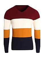 Для мужчин На каждый день Простое Обычный Пуловер Контрастных цветов,V-образный вырез Длинный рукав Полиэстер Зима Средняя Слабоэластичная