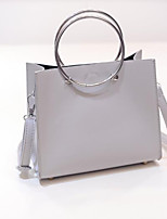 Women Bags All Seasons PU Tote Zipper for Casual Sillver Gray Black