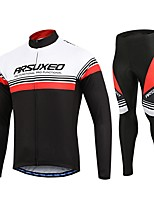 Arsuxeo Cycling Jersey with Tights Men's Bike Clothing Suits Quick Dry Reduces Chafing Classic Autumn/Fall Spring Cycling/Bike White Black