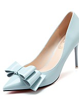Women's Shoes PU Summer Fall Comfort Heels Stiletto Heel Pointed Toe Bowknot For Party & Evening Dress Almond Light Blue Green Light Grey