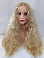 Women Synthetic Wig Capless Long Kinky Straight Blonde Middle Part Cosplay Wig Costume Wig