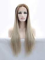 Women Synthetic Wig Lace Front Long Straight Beige Blonde Natural Hairline Natural Wigs Costume Wig