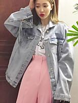 Feminino Jaqueta jeans Casual Simples Outono,Sólido Padrão Algodão Poliéster Colarinho de Camisa Manga Longa