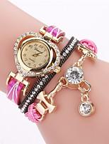 Damen Modeuhr Armband-Uhr Simulierter Diamant Uhr Chinesisch Quartz PU Band Böhmische Bequem Elegante Schwarz Weiß Blau Rot Braun Rosa