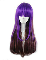 Women Synthetic Wig Capless Long Straight Purple/Blue Ombre Hair With Bangs Party Wig Halloween Wig Carnival Wig Cosplay Wig Costume Wig