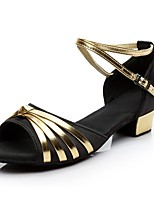 cheap -Women's Children's Latin Silk Heel Indoor Practice Low Heel Black/Gold Customizable