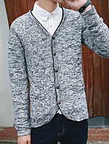 Men's Casual/Daily Simple Regular Cardigan,Solid Stand Long Sleeves Polyester Fall Medium Micro-elastic