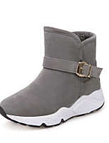 Women's Shoes Fabric Fall Winter Comfort Boots Flat Heel Booties/Ankle Boots Buckle For Casual Gray Black