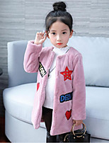 Girls' Print Down & Cotton Padded,Rabbit Fur Faux Fur Cotton Fall Winter Long Sleeve
