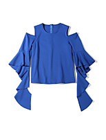 Women's Daily T-shirt,Solid Off Shoulder Half Sleeves Cotton