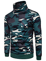 cheap -Men's Cotton Casual Hoodie & Sweatshirt Camouflage Turtleneck Micro-elastic Cotton Long Sleeves All Seasons