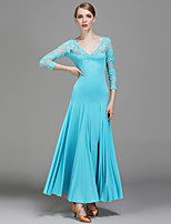 Ballroom Dance Dresses Women's Performance Lace Milk Fiber Lace 1 Piece 3/4 Length Sleeve Natural Dress