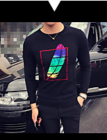 Men's Going out Casual/Daily Regular Pullover,Print Round Neck Long Sleeves Rayon Spring Fall Medium Micro-elastic