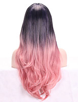 Women Synthetic Wig Capless Long Wavy Pink Ombre Hair Dark Roots With Bangs Cosplay Wig Costume Wig