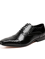 Men's Shoes Nappa Leather Spring Fall Comfort Novelty Oxfords Split Joint Lace-up For Wedding Party & Evening Black