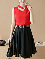 Women's Casual/Daily Simple Summer Blouse Skirt Suits,Solid V Neck Short Sleeve Micro-elastic