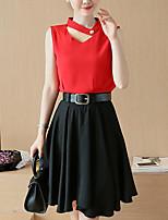Damen Solide Einfach Lässig/Alltäglich Bluse Rock Anzüge,V-Ausschnitt Sommer Kurzarm Mikro-elastisch