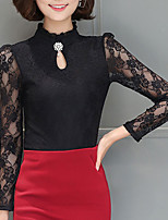 Women's Casual/Daily Cute Spring Fall Blouse,Solid Stand Long Sleeves Polyester Medium