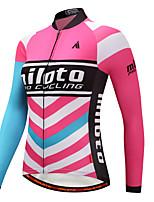 Miloto Camisa para Ciclismo Mulheres Manga Longa Moto Camisa/Roupas Para Esporte Esticar Outono Inverno Ciclismo Azul+Rosa