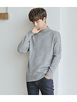 Men's Casual/Daily Simple Regular Pullover,Solid Turtleneck Long Sleeves Acrylic Fall Medium Micro-elastic